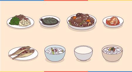 Korean typical meal menu.