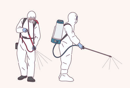 People in quarantine uniforms are spraying disinfectants. 스톡 콘텐츠 - 165796143