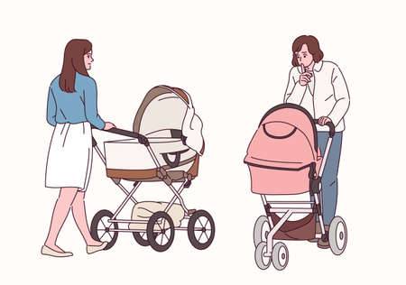 Front and back views of women walking with strollers. 일러스트