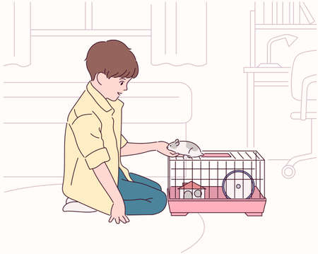 A boy is raising a hamster in his room. 일러스트