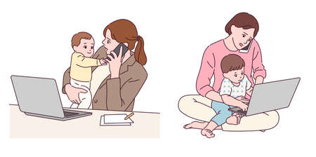 The mother is working from home while raising children. 일러스트