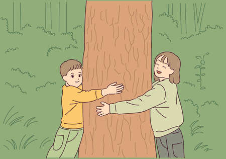 The children are hugging the tree with love for the tree.