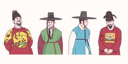 Men in traditional Korean clothes. 일러스트