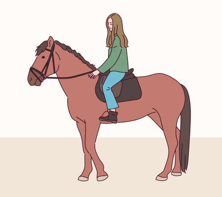 A girl is riding a horse.