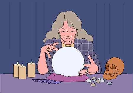 A astrologer is divination with a marble. 스톡 콘텐츠 - 165796213