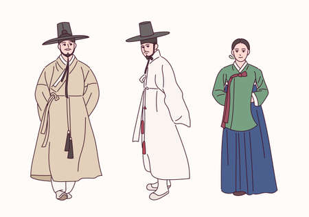 People wearing traditional Korean clothes.
