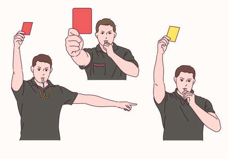 The soccer referee is holding a red and yellow card and blowing a whistle.