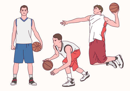 Basketball player character. A basketball player playing in a nice pose.