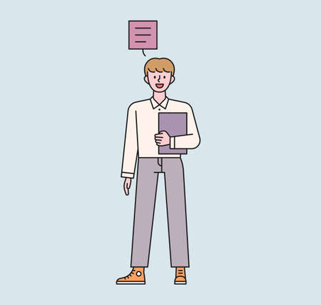 A male student is standing with a notebook. There is a speech bubble above the boy's head and he is speaking. flat design style minimal vector illustration.