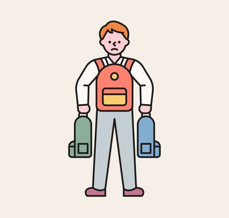 A male student is carrying other students' backpacks. A victim student being bullied. flat design style minimal vector illustration.