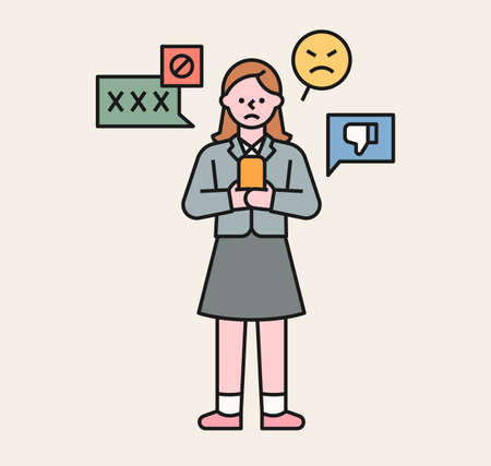 A girl is receiving bad comments on her phone. A victim student being bullied. flat design style minimal vector illustration.