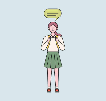 A female student with a school bag is standing. A speech bubble floats above her girl's head. flat design style minimal vector illustration. 일러스트