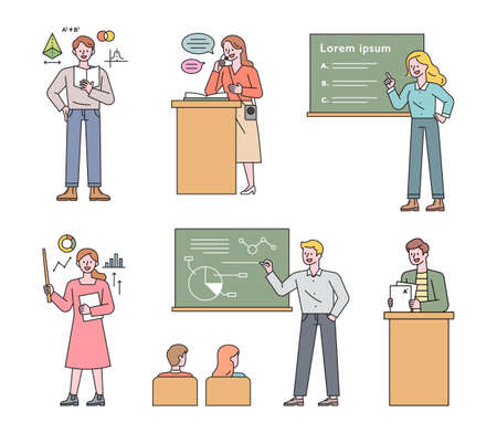 A collection of teacher characters who teach in various ways. flat design style minimal vector illustration.