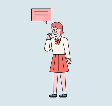 A girl in a school uniform is speaking. A speech bubble floats above her girl's head. flat design style minimal vector illustration. 일러스트