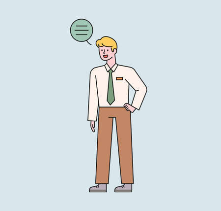 A male student in a school uniform is standing and talking. A speech bubble floats above the boy's head. flat design style minimal vector illustration. 일러스트