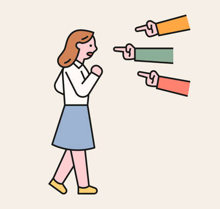 People are pointing at a girl and accusing her. A victim student being bullied. flat design style minimal vector illustration.
