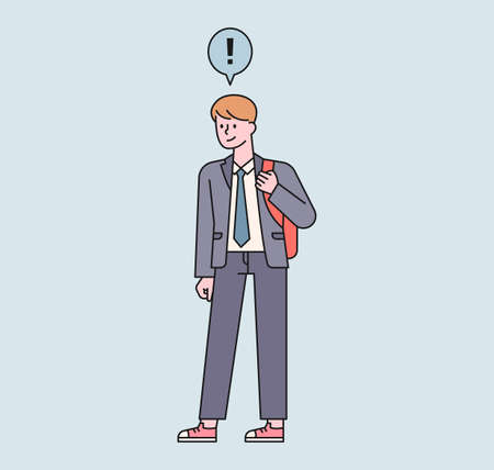 A male student with a backpack is standing. An exclamation point floats above the boy's head. flat design style minimal vector