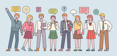 Male and female students in school uniforms are standing and expressing their opinions. flat design style minimal vector illustration. 일러스트