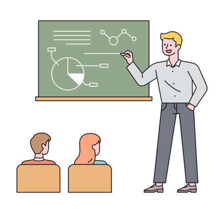 A teacher is taking notes on the board and taking classes, and the students are listening. flat design style minimal vector illustration. 일러스트