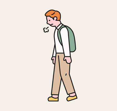 A boy is walking with a sigh. A victim student being bullied. flat design style minimal vector illustration. 일러스트
