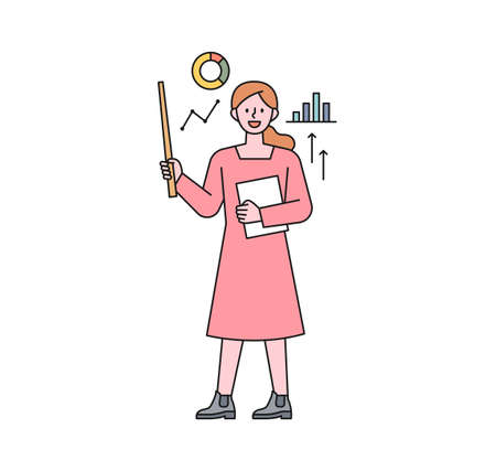 A teacher is holding a stick in his hand and explaining the graph. flat design style minimal vector illustration. 일러스트