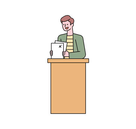 A teacher is holding a report with grades on it. flat design style minimal vector illustration.
