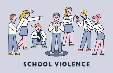 school violence. Bad students are harassing him around a student. flat design style minimal vector illustration.
