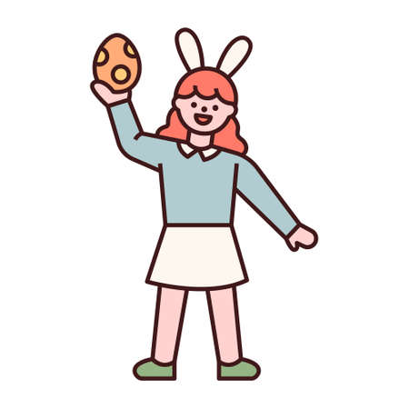 Easter characters. A girl is holding an Easter egg in her hand. flat design style minimal vector illustration. 스톡 콘텐츠 - 165983695