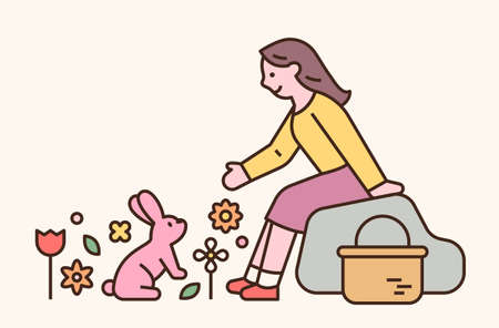 Easter characters. A girl met a rabbit in the woods. flat design style minimal vector illustration. 일러스트
