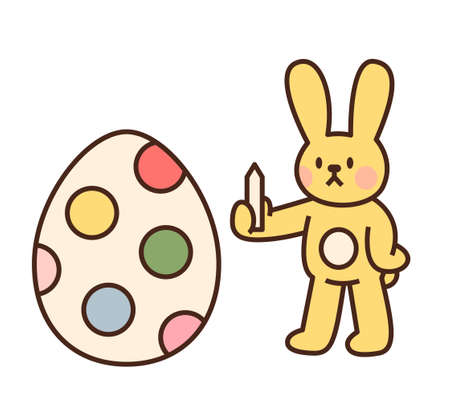 Cute easter bunny character. The yellow rabbit is decorating eggs with colored pencils. flat design style minimal vector illustration. 일러스트