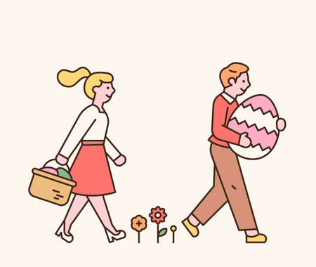 Easter characters. A boy and a girl are walking with Easter eggs in their hands. flat design style minimal vector.