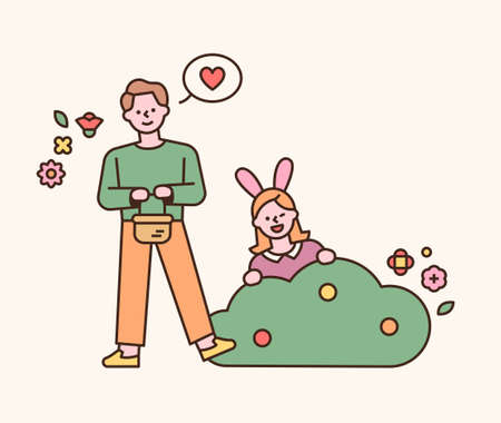 Easter characters. A girl in a rabbit's headband jumps out of the bush, and a boy with a basket of eggs stands next to it. flat design style minimal vector illustration.