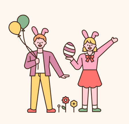 Easter characters. Boys and girls in rabbit headbands. They are holding balloons and Easter eggs in their hands. flat design style minimal vector illustration. 스톡 콘텐츠 - 165983703