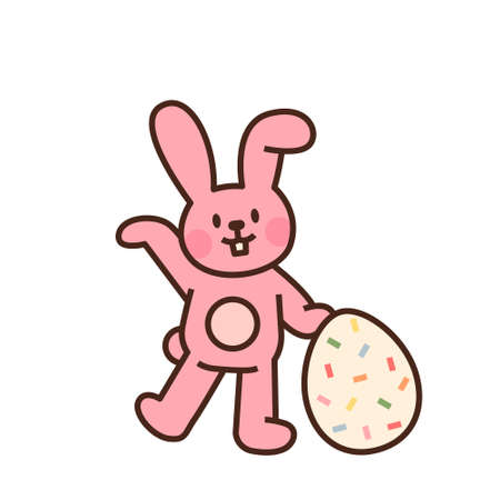 Cute easter bunny character. A pink rabbit stands with an Easter egg. flat design style minimal vector illustration.