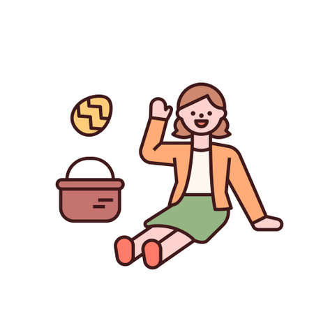 Easter characters. A girl is sitting with Easter eggs. flat design style minimal vector illustration. 스톡 콘텐츠 - 165983705