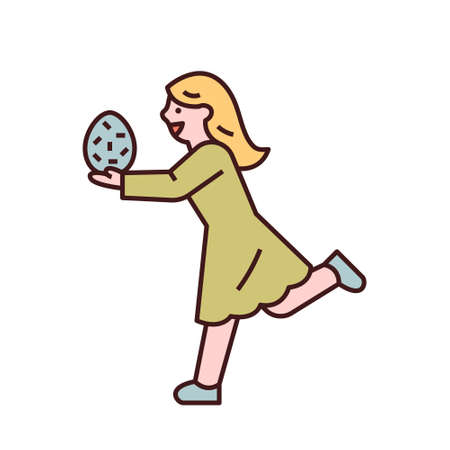 Easter characters. A girl is running with an Easter egg in her hand. flat design style minimal vector illustration.