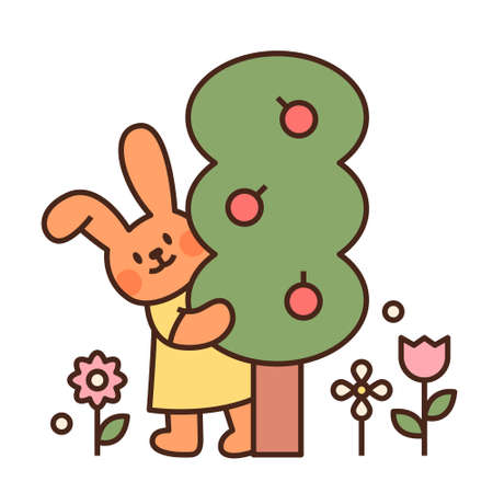 Cute easter bunny character. A rabbit holding an apple tree. flat design style minimal vector illustration. 일러스트