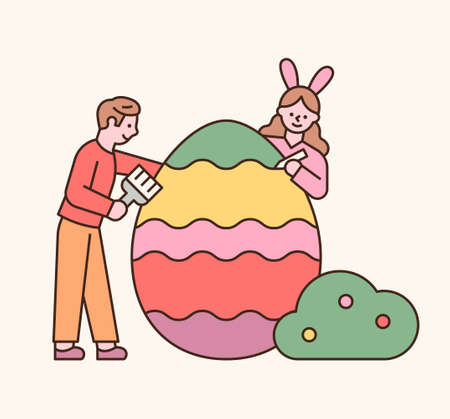 Easter characters. The boy and the girl are coloring Easter eggs. flat design style minimal vector illustration.