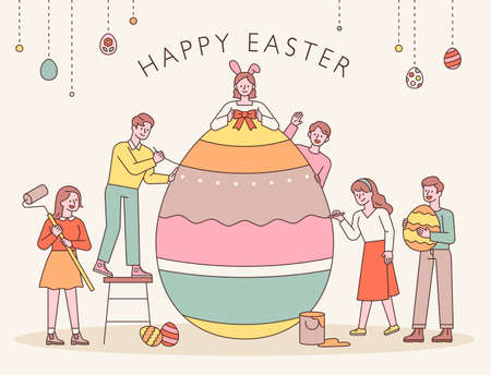 Easter characters. People are decorating Easter eggs together. flat design style minimal vector illustration.