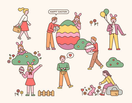 Easter characters. People doing Easter events. flat design style minimal vector illustration. 일러스트