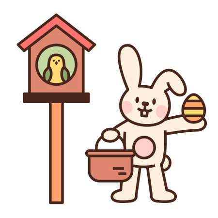 Cute easter bunny character. The white rabbit is holding a basket of eggs and giving it to the bird. flat design style minimal vector illustration.