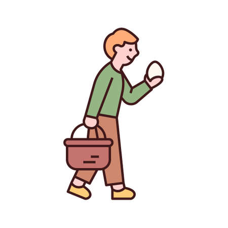 Easter characters. A boy is walking with a basket of Easter eggs. flat design style minimal vector illustration. 일러스트