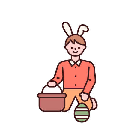 Easter characters. A boy finds an Easter egg and puts it in a basket. flat design style minimal vector illustration. 일러스트