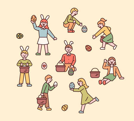 Easter characters. People wear bunny headbands and are looking for Easter eggs. flat design style minimal vector illustration. 스톡 콘텐츠 - 165983722