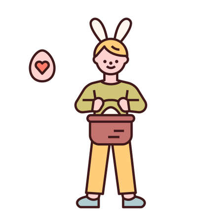 Easter characters. A boy stands with a basket of Easter eggs in his hand. flat design style minimal vector illustration.