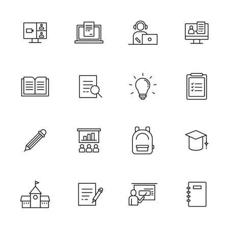 education icons set. flat design style minimal vector illustration. 스톡 콘텐츠 - 165983736