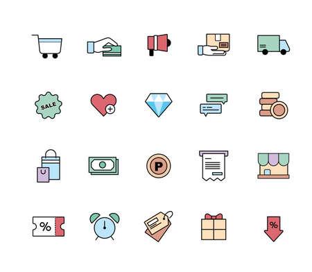 shopping icon set. flat design style minimal vector illustration. 스톡 콘텐츠 - 165983744