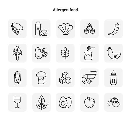 Allergen food black line icons. flat design style minimal vector illustration. 스톡 콘텐츠 - 166104956