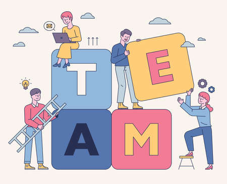 Team members are stacking large boxes together. flat design style minimal vector illustration. 일러스트
