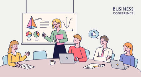Team members are sitting together at a table and having an idea meeting. One person is standing up and giving a presentation. flat design style minimal vector illustration. 일러스트